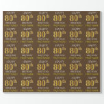 "[ Thumbnail: Brown, Faux Gold ""Happy 80th Birthday"" Wrapping Paper ]"