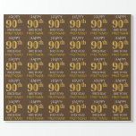 "[ Thumbnail: Brown, Faux Gold ""Happy 90th Birthday"" Wrapping Paper ]"