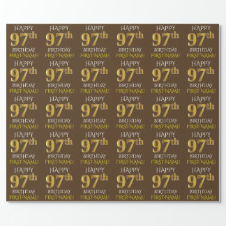 """Brown, Faux Gold """"HAPPY 97th BIRTHDAY"""" Wrapping Paper"""