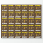 """[ Thumbnail: Brown, Faux/Imitation Gold, """"11th Birthday"""" Wrapping Paper ]"""
