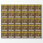 """[ Thumbnail: Brown, Faux/Imitation Gold, """"13th Birthday"""" Wrapping Paper ]"""