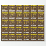 """[ Thumbnail: Brown, Faux/Imitation Gold, """"17th Birthday"""" Wrapping Paper ]"""