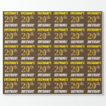 """[ Thumbnail: Brown, Faux/Imitation Gold, """"20th Birthday"""" Wrapping Paper ]"""