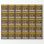 """[ Thumbnail: Brown, Faux/Imitation Gold, """"21st Birthday"""" Wrapping Paper ]"""