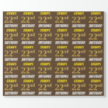 """[ Thumbnail: Brown, Faux/Imitation Gold, """"22nd Birthday"""" Wrapping Paper ]"""