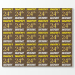 """[ Thumbnail: Brown, Faux/Imitation Gold, """"24th Birthday"""" Wrapping Paper ]"""