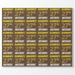 """[ Thumbnail: Brown, Faux/Imitation Gold, """"27th Birthday"""" Wrapping Paper ]"""