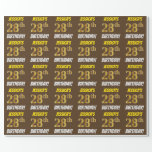 """[ Thumbnail: Brown, Faux/Imitation Gold, """"28th Birthday"""" Wrapping Paper ]"""