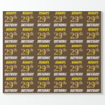 """[ Thumbnail: Brown, Faux/Imitation Gold, """"29th Birthday"""" Wrapping Paper ]"""