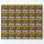 """[ Thumbnail: Brown, Faux/Imitation Gold, """"2nd Birthday"""" Wrapping Paper ]"""