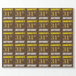"""[ Thumbnail: Brown, Faux/Imitation Gold, """"31st Birthday"""" Wrapping Paper ]"""