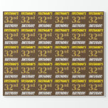 """[ Thumbnail: Brown, Faux/Imitation Gold, """"32nd Birthday"""" Wrapping Paper ]"""