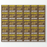 """[ Thumbnail: Brown, Faux/Imitation Gold, """"40th Birthday"""" Wrapping Paper ]"""