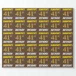 """[ Thumbnail: Brown, Faux/Imitation Gold, """"41st Birthday"""" Wrapping Paper ]"""