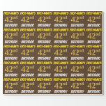 """[ Thumbnail: Brown, Faux/Imitation Gold, """"42nd Birthday"""" Wrapping Paper ]"""