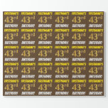 """[ Thumbnail: Brown, Faux/Imitation Gold, """"43rd Birthday"""" Wrapping Paper ]"""