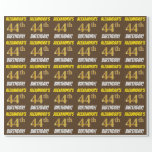 """[ Thumbnail: Brown, Faux/Imitation Gold, """"44th Birthday"""" Wrapping Paper ]"""