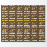 """[ Thumbnail: Brown, Faux/Imitation Gold, """"46th Birthday"""" Wrapping Paper ]"""