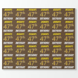 """[ Thumbnail: Brown, Faux/Imitation Gold, """"47th Birthday"""" Wrapping Paper ]"""
