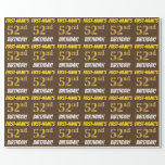 "[ Thumbnail: Brown, Faux/Imitation Gold, ""52nd Birthday"" Wrapping Paper ]"