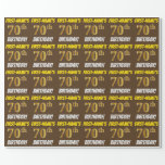 "[ Thumbnail: Brown, Faux/Imitation Gold, ""70th Birthday"" Wrapping Paper ]"