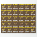 "[ Thumbnail: Brown, Faux/Imitation Gold, ""9th Birthday"" Wrapping Paper ]"