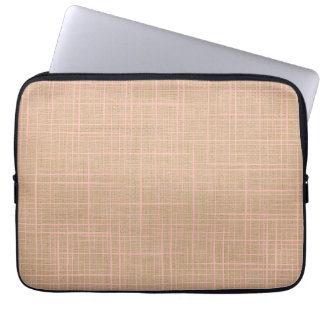 Brown Faux Linen canvas checkers Laptop Sleeve