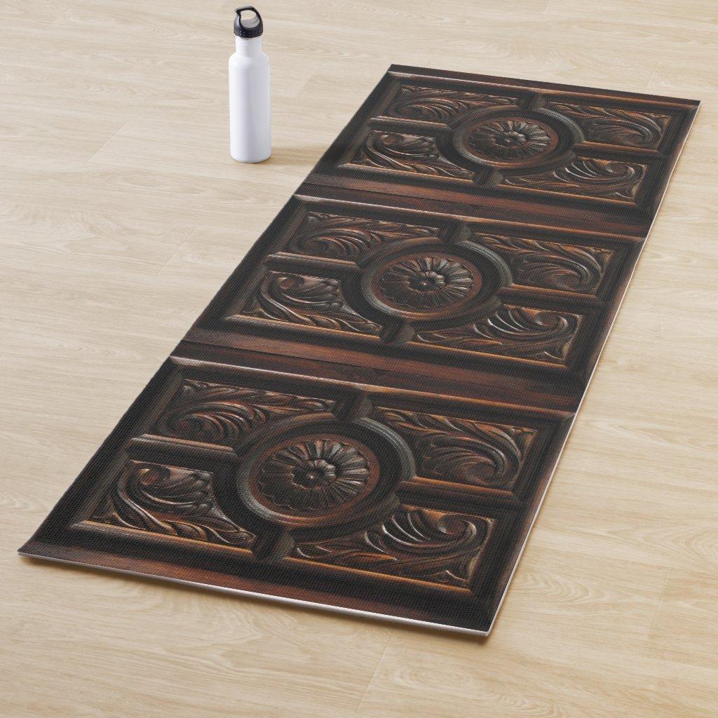 Brown Faux Wood Carving Image Yoga Mat