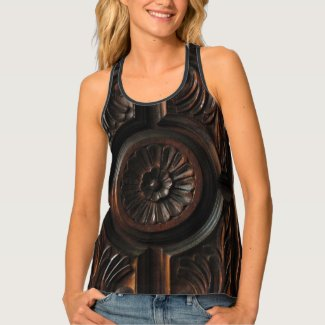 Brown Faux Wood Flower Abstract Tank Top