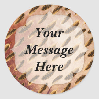 Brown Feathers Pattern Classic Round Sticker