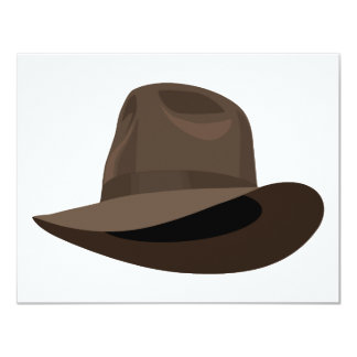Brown Fedora narrow ribbon Card