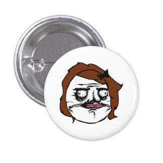 Brown Female Me Gusta Comic Rage Face Meme 1 Inch Round Button