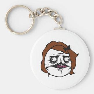 Brown Female Me Gusta Comic Rage Face Meme Keychain