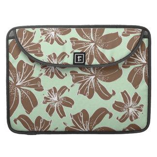 Brown femenino bonito y modelo de flores verde funda para macbooks