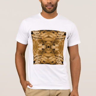 Brown Fern Leaves, Digital Art Pattern. T-Shirt