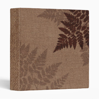 Brown Ferns against Rustic Country Burlap Binder