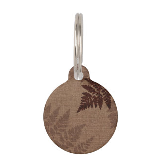 Brown Ferns against Rustic Country Burlap Pet Name Tag