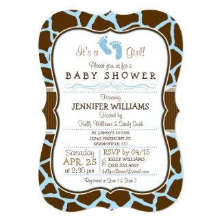 """Brown, fiesta de bienvenida al bebé azul del invitación 5"""" x 7"""""""