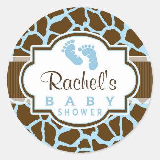 Brown, fiesta de bienvenida al bebé azul del pegatina redonda