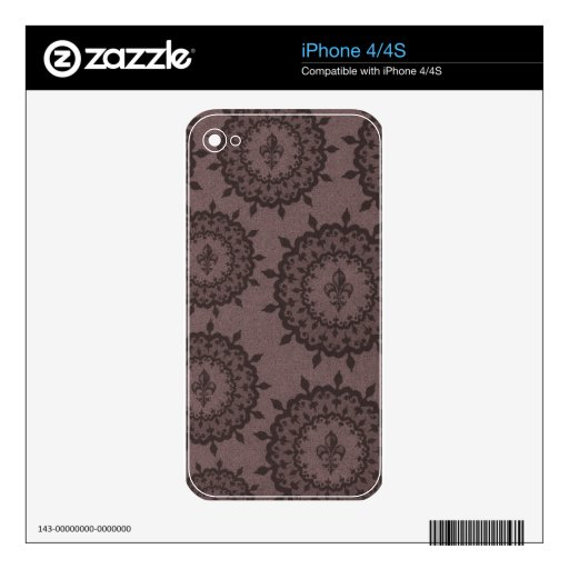 Brown Fleur De Lis iPhone 4S Decal