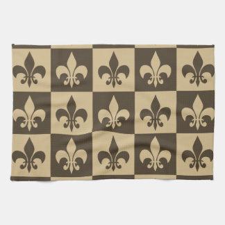 Brown Fleur de lis Hand Towels