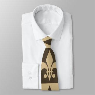 Brown Fleur de lis Neck Tie
