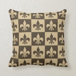 Brown Fleur de lis Throw Pillow