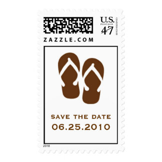 Brown flip flop save the date wedding postage