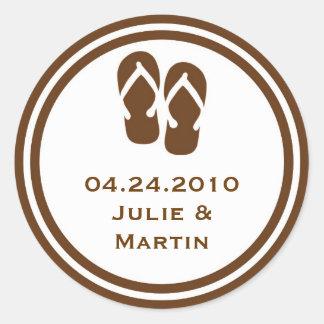 Brown flip flop thong wedding favor tag seal label