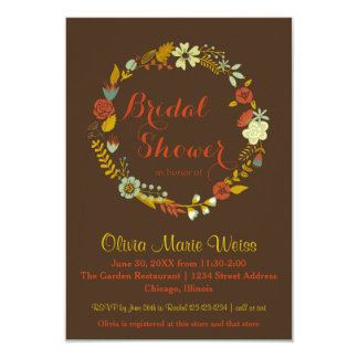 Brown Floral Circle Wreath-3x5Bridal Shower Invite