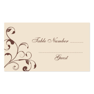 Brown Floral Curls Wedding Table Place Cards Double-Sided Standard Business Cards (Pack Of 100)