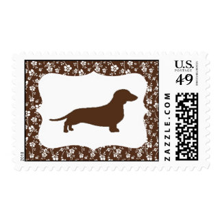 Brown Floral Dachshund Stamps