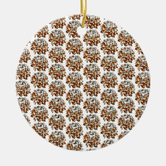 Brown  Floral Dahlia Flower Pattern Double-Sided Ceramic Round Christmas Ornament
