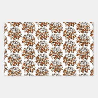 Brown  Floral Dahlia Flower Pattern Rectangular Sticker